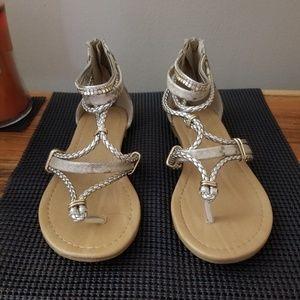 Maurices snake skin, strappy flat sandal